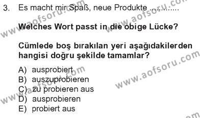 Tarih Bölümü 7. Yarıyıl Almanca III Dersi 2013 Yılı Güz Dönemi Tek Ders Sınavı 3. Soru