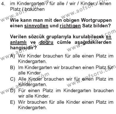 Almanca 3 Dersi 2012 - 2013 Yılı Tek Ders Sınavı 4. Soru