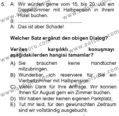 Tarih Bölümü 7. Yarıyıl Almanca III Dersi 2013 Yılı Güz Dönemi Tek Ders Sınavı 5. Soru
