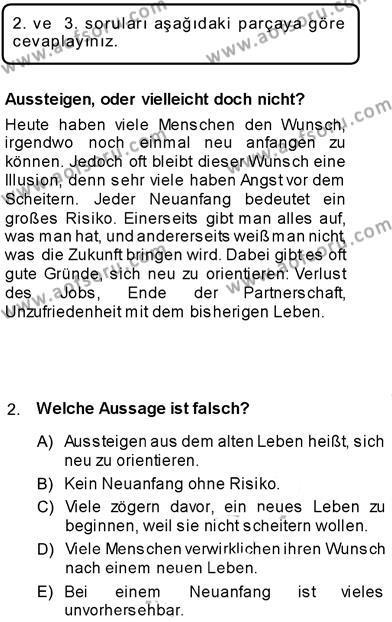 Konaklama İşletmeciliği Bölümü 7. Yarıyıl Almanca III Dersi 2014 Yılı Güz Dönemi Dönem Sonu Sınavı 2. Soru