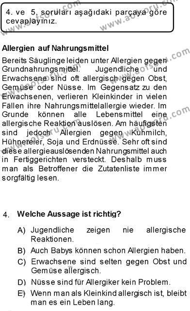 Konaklama İşletmeciliği Bölümü 7. Yarıyıl Almanca III Dersi 2014 Yılı Güz Dönemi Dönem Sonu Sınavı 4. Soru