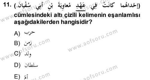 Arapça 1 Dersi Ara Sınavı Deneme Sınav Soruları 11. Soru