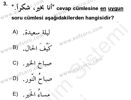 Arapça 1 Dersi Ara Sınavı Deneme Sınav Soruları 3. Soru