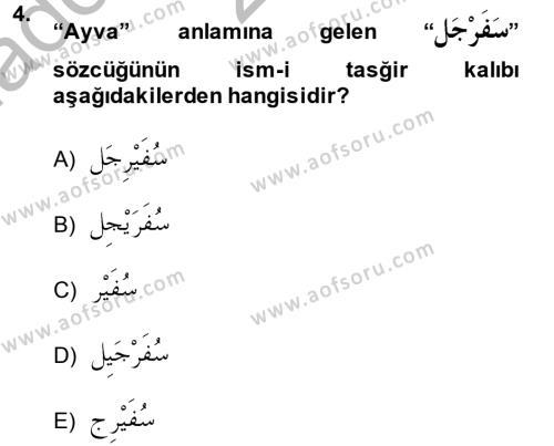 İlahiyat Bölümü 2. Yarıyıl Arapça II Dersi 2014 Yılı Bahar Dönemi Ara Sınavı 4. Soru