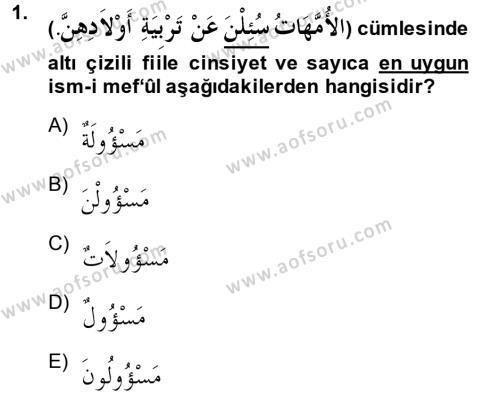 İlahiyat Bölümü 2. Yarıyıl Arapça II Dersi 2014 Yılı Bahar Dönemi Dönem Sonu Sınavı 1. Soru