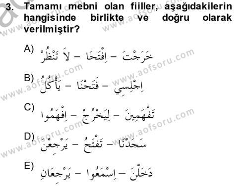 İlahiyat Bölümü 2. Yarıyıl Arapça II Dersi 2014 Yılı Bahar Dönemi Dönem Sonu Sınavı 3. Soru