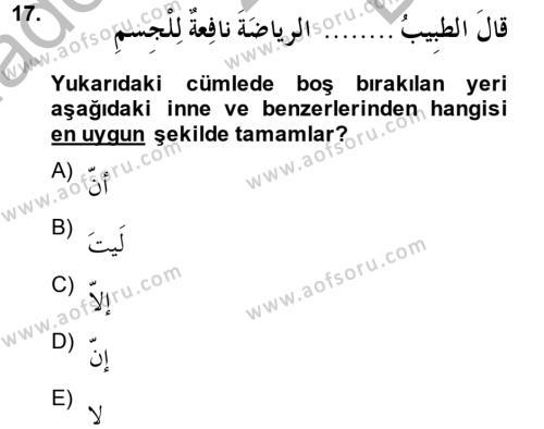 Arapça 2 Dersi Dönem Sonu Sınavı Deneme Sınav Soruları 17. Soru