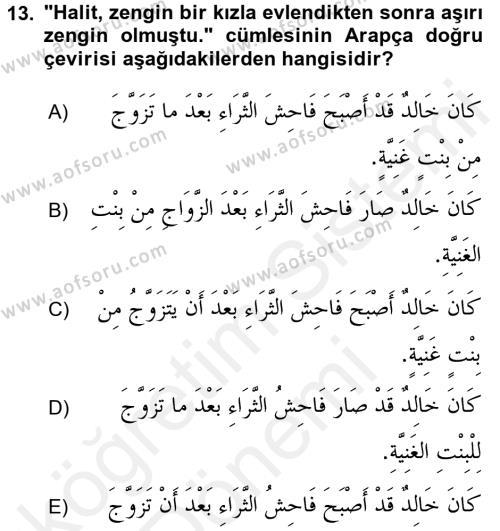 Arapça 2 Dersi Ara Sınavı Deneme Sınav Soruları 13. Soru