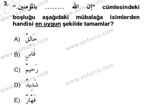 Arapça 2 Dersi Ara Sınavı Deneme Sınav Soruları 3. Soru