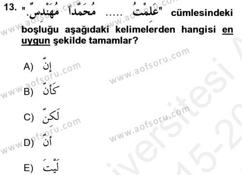 Arapça 2 Dersi Tek Ders Sınavı Deneme Sınav Soruları 13. Soru