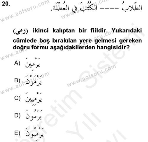 Arapça 2 Dersi Ara Sınavı Deneme Sınav Soruları 20. Soru