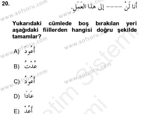 Arapça 2 Dersi Dönem Sonu Sınavı Deneme Sınav Soruları 20. Soru