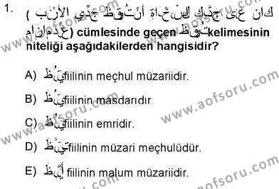 İlahiyat Bölümü 3. Yarıyıl Arapça III Dersi 2013 Yılı Güz Dönemi Ara Sınavı 1. Soru