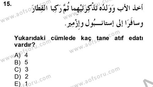 Arapça 3 Dersi Dönem Sonu Sınavı Deneme Sınav Soruları 15. Soru