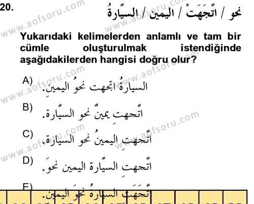 Arapça 3 Dersi Ara Sınavı Deneme Sınav Soruları 20. Soru
