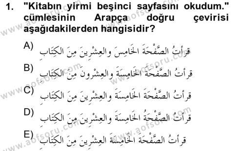Arapça 4 Dersi 2012 - 2013 Yılı (Final) Dönem Sonu Sınav Soruları 1. Soru