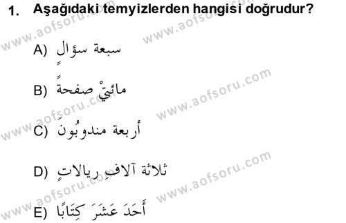 Arapça 4 Dersi 2013 - 2014 Yılı (Vize) Ara Sınav Soruları 1. Soru