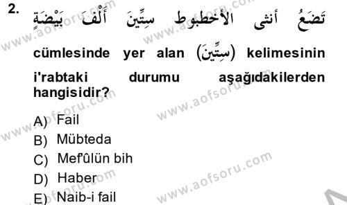 Arapça 4 Dersi 2013 - 2014 Yılı (Vize) Ara Sınav Soruları 2. Soru