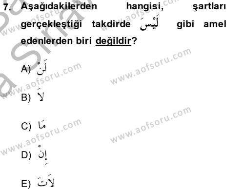 Arapça 4 Dersi Ara Sınavı Deneme Sınav Soruları 7. Soru
