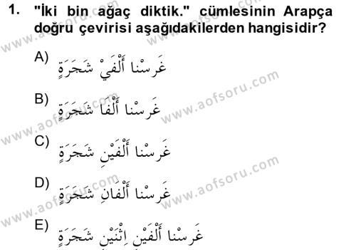 Arapça 4 Dersi 2014 - 2015 Yılı (Final) Dönem Sonu Sınav Soruları 1. Soru
