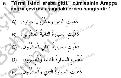Arapça 4 Dersi Ara Sınavı Deneme Sınav Soruları 5. Soru