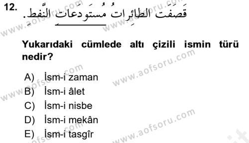 Arapça 4 Dersi Ara Sınavı Deneme Sınav Soruları 12. Soru