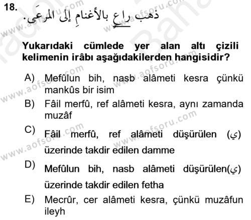 Arapça 4 Dersi Ara Sınavı Deneme Sınav Soruları 18. Soru