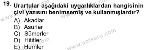 Anadolu Arkeolojisi Dersi Ara Sınavı Deneme Sınav Soruları 19. Soru