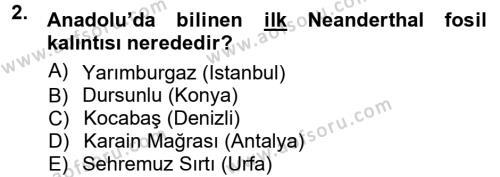 Kültürel Miras ve Turizm Bölümü 1. Yarıyıl Anadolu Arkeolojisi Dersi 2013 Yılı Güz Dönemi Ara Sınavı 2. Soru