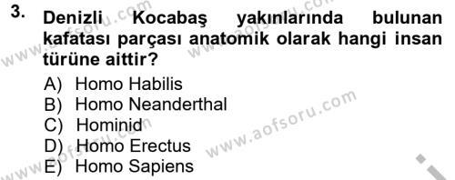 Kültürel Miras ve Turizm Bölümü 1. Yarıyıl Anadolu Arkeolojisi Dersi 2013 Yılı Güz Dönemi Ara Sınavı 3. Soru