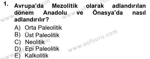 Kültürel Miras ve Turizm Bölümü 1. Yarıyıl Anadolu Arkeolojisi Dersi 2013 Yılı Güz Dönemi Dönem Sonu Sınavı 1. Soru