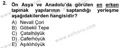 Kültürel Miras ve Turizm Bölümü 1. Yarıyıl Anadolu Arkeolojisi Dersi 2013 Yılı Güz Dönemi Dönem Sonu Sınavı 2. Soru