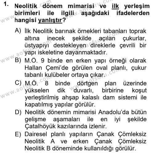 Kültürel Miras ve Turizm Bölümü 1. Yarıyıl Anadolu Arkeolojisi Dersi 2014 Yılı Güz Dönemi Ara Sınavı 1. Soru