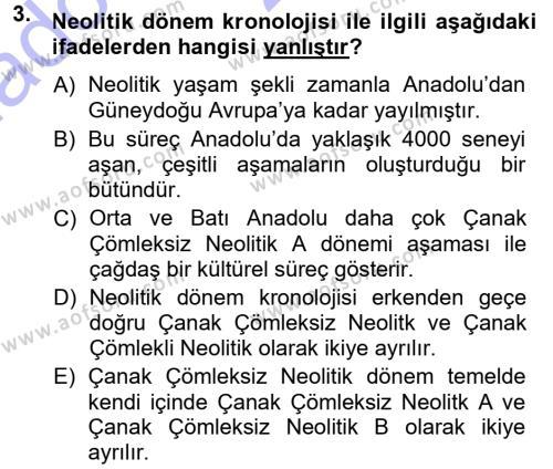 Kültürel Miras ve Turizm Bölümü 1. Yarıyıl Anadolu Arkeolojisi Dersi 2014 Yılı Güz Dönemi Ara Sınavı 3. Soru