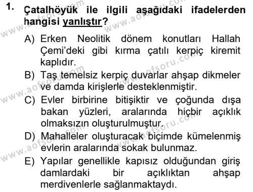 Kültürel Miras ve Turizm Bölümü 1. Yarıyıl Anadolu Arkeolojisi Dersi 2014 Yılı Güz Dönemi Dönem Sonu Sınavı 1. Soru