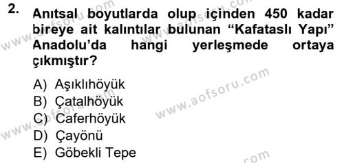 Kültürel Miras ve Turizm Bölümü 1. Yarıyıl Anadolu Arkeolojisi Dersi 2014 Yılı Güz Dönemi Tek Ders Sınavı 2. Soru