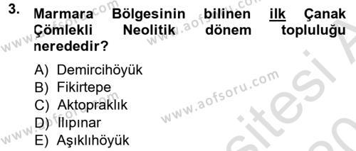 Anadolu Arkeolojisi Dersi 2013 - 2014 Yılı Tek Ders Sınavı 3. Soru