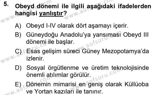 Kültürel Miras ve Turizm Bölümü 1. Yarıyıl Anadolu Arkeolojisi Dersi 2014 Yılı Güz Dönemi Tek Ders Sınavı 5. Soru