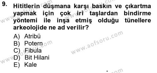 Anadolu Arkeolojisi Dersi Tek Ders Sınavı Deneme Sınav Soruları 9. Soru
