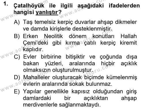 Anadolu Arkeolojisi Dersi 2014 - 2015 Yılı (Vize) Ara Sınav Soruları 1. Soru