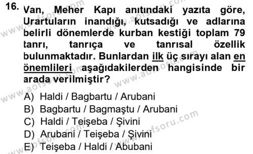 Anadolu Arkeolojisi Dersi 2014 - 2015 Yılı Ara Sınavı 16. Soru 1. Soru