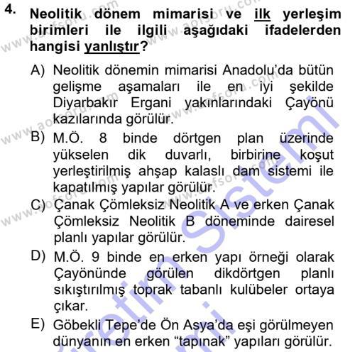 Anadolu Arkeolojisi Dersi 2014 - 2015 Yılı (Vize) Ara Sınav Soruları 4. Soru