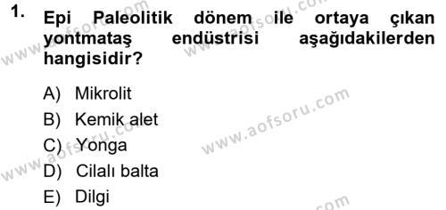Anadolu Arkeolojisi Dersi 2014 - 2015 Yılı Dönem Sonu Sınavı 1. Soru 1. Soru