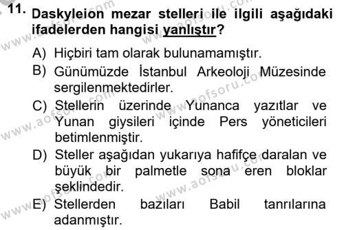 Anadolu Arkeolojisi Dersi 2014 - 2015 Yılı (Final) Dönem Sonu Sınavı 11. Soru