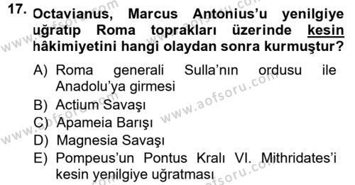 Anadolu Arkeolojisi Dersi 2014 - 2015 Yılı Dönem Sonu Sınavı 17. Soru 1. Soru