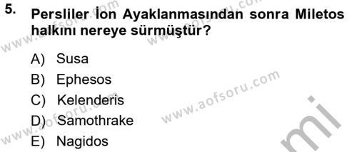Anadolu Arkeolojisi Dersi 2014 - 2015 Yılı Dönem Sonu Sınavı 5. Soru 1. Soru