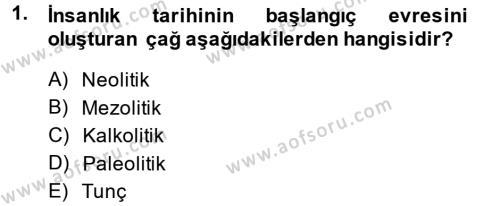 Anadolu Arkeolojisi Dersi 2014 - 2015 Yılı Tek Ders Sınavı 1. Soru