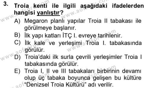 Anadolu Arkeolojisi Dersi 2014 - 2015 Yılı Tek Ders Sınavı 3. Soru