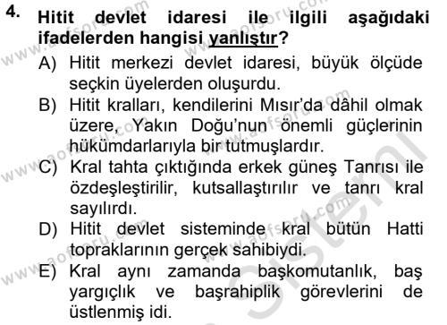 Anadolu Arkeolojisi Dersi 2014 - 2015 Yılı Tek Ders Sınavı 4. Soru