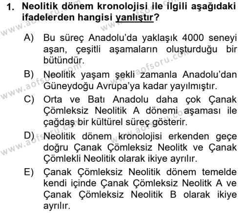 Anadolu Arkeolojisi Dersi 2015 - 2016 Yılı Dönem Sonu Sınavı 1. Soru